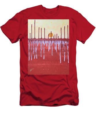 Cattails Original Painting Sold Men's T-Shirt (Athletic Fit)
