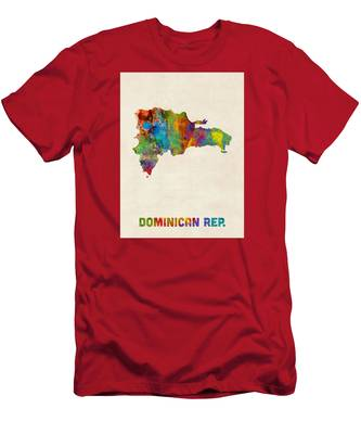 Dominican Republic Watercolor Map Men's T-Shirt (Athletic Fit)