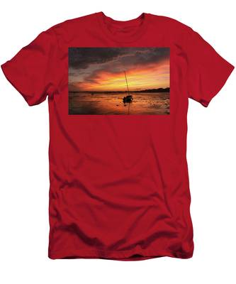 Men's T-Shirt (Athletic Fit) featuring the photograph Low Tide Sunset Sailboats by Brad Wenskoski