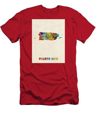 Puerto Rico Watercolor Map Men's T-Shirt (Athletic Fit)
