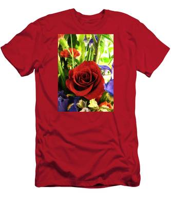 Red Rose And Flowers Men's T-Shirt (Athletic Fit)