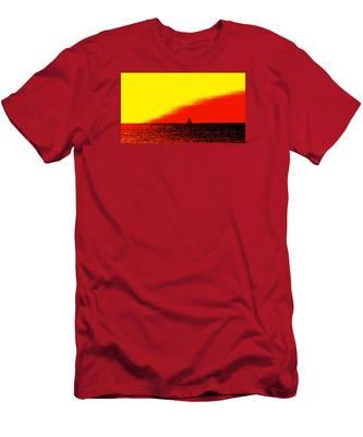Sailboat Horizon Poster Men's T-Shirt (Athletic Fit)