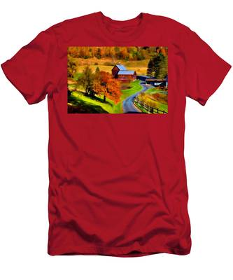 Men's T-Shirt (Athletic Fit) featuring the photograph Digital Painting Of Sleepy Hollow Farm by Jeff Folger