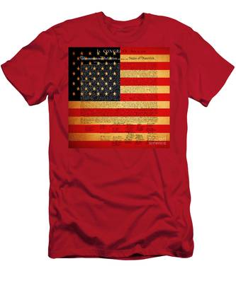 The United States Declaration Of Independence - American Flag - Square Men's T-Shirt (Athletic Fit)