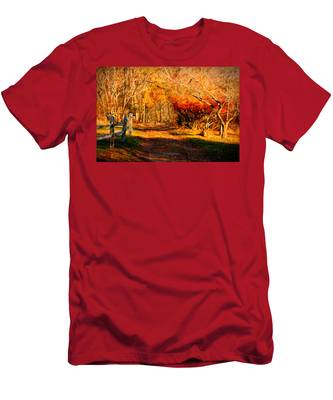 Men's T-Shirt (Athletic Fit) featuring the photograph Walking Down The Autumn Path by Jeff Folger