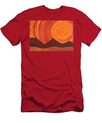 Western Sky Wave Original Painting Men's T-Shirt (Athletic Fit)