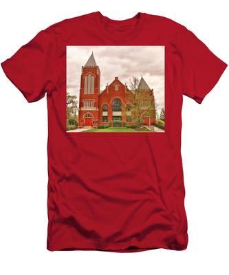 Men's T-Shirt (Athletic Fit) featuring the photograph Farmville United Methodist Church Farmville Virginia by Ola Allen