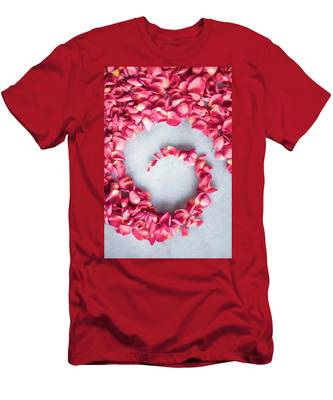 Men's T-Shirt (Athletic Fit) featuring the photograph Rose On Marble V by Anne Leven