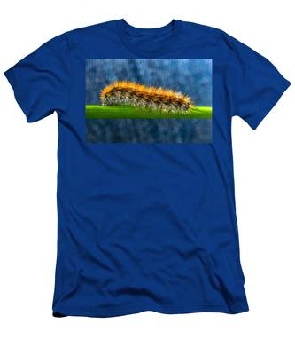 Men's T-Shirt (Athletic Fit) featuring the photograph Butterfly Caterpillar Larva On The Stem by Michael Goyberg