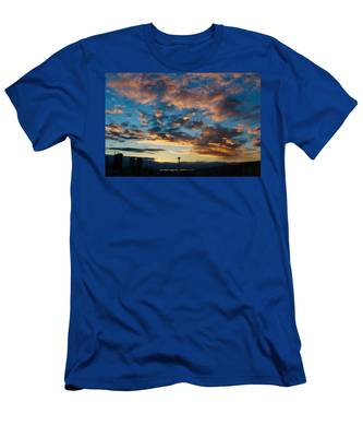 Space Needle In Clouds Men's T-Shirt (Athletic Fit)