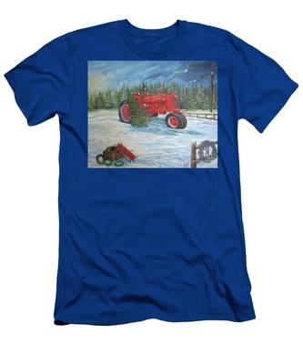 Antique Tractor At The Christmas Tree Farm Men's T-Shirt (Athletic Fit)