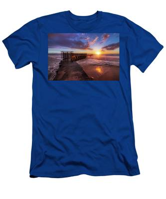 Colorful Sunset At Toes Beach Men's T-Shirt (Athletic Fit) by Andy Konieczny