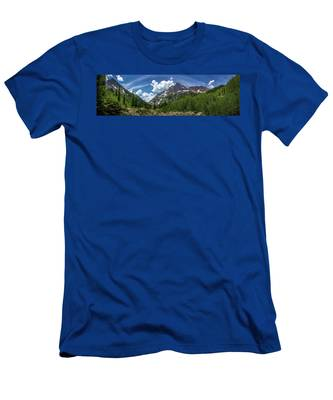 Maroon Bells And Crater Lake Panorama Men's T-Shirt (Athletic Fit) by Andy Konieczny