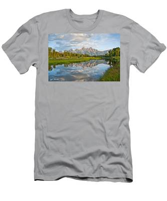 Teton Range Reflected In The Snake River Men's T-Shirt (Athletic Fit)