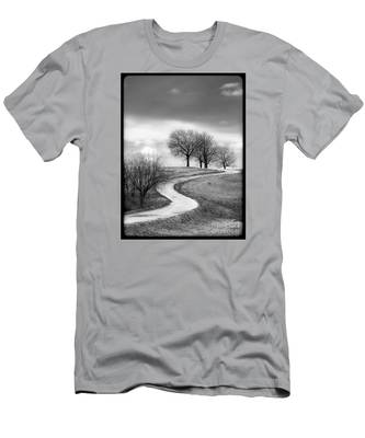 A Winding Country Road In Black And White Men's T-Shirt (Athletic Fit)