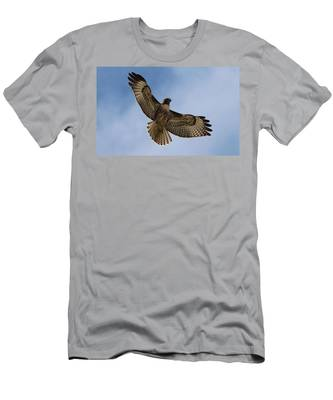 Men's T-Shirt (Athletic Fit) featuring the photograph Hawk In Flight  by Christy Pooschke