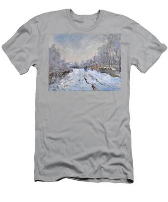 Snow Scene At Argenteuil Men's T-Shirt (Athletic Fit)