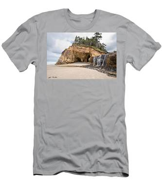 Waterfall Flowing Into The Pacific Ocean Men's T-Shirt (Athletic Fit)