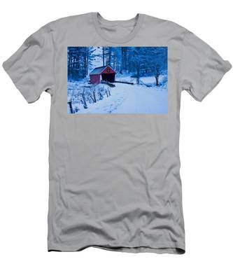 Men's T-Shirt (Athletic Fit) featuring the photograph winter Vermont covered bridge by Jeff Folger