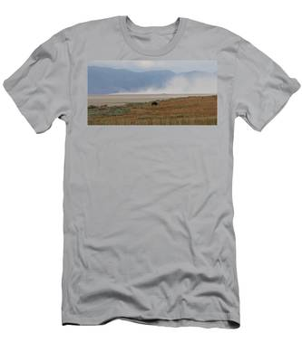 Men's T-Shirt (Athletic Fit) featuring the photograph Bison Grazing At Salt Lake by Christy Pooschke