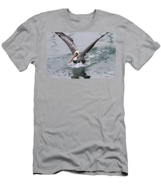 Brown Pelican Landing On Water . 7d8372 Men's T-Shirt (Athletic Fit)