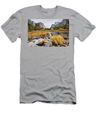 El Capitan And The Merced River In The Fall Men's T-Shirt (Athletic Fit)