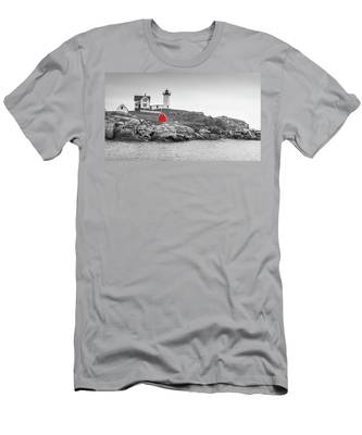 Nubble Lighthouse In Color And Black And White Men's T-Shirt (Athletic Fit)