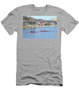 Men's T-Shirt (Athletic Fit) featuring the photograph Rowing Along The Schuylkill River by Bill Cannon