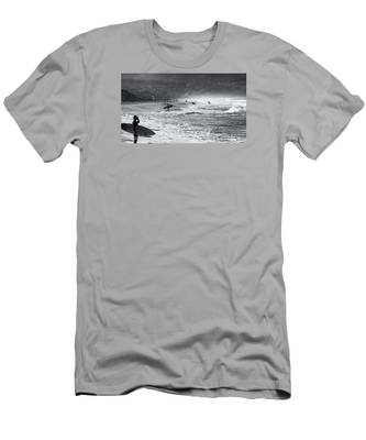 Waiting For The Surf By Mike-hope Men's T-Shirt (Athletic Fit)
