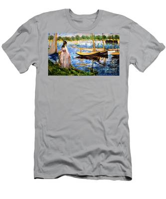 Banks Of The Seine At Argenteuil Men's T-Shirt (Athletic Fit)
