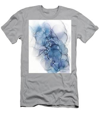 Blue Whispy 2 Abstract Painting Men's T-Shirt (Athletic Fit)