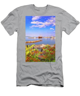 Men's T-Shirt (Athletic Fit) featuring the photograph Evening At The York River In Yorktown Virginia by Ola Allen