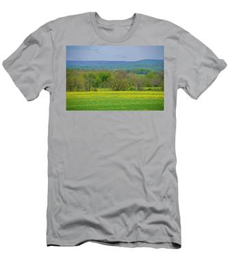 Gettysburg Pennsylvania - Yellow Flowers In Field Men's T-Shirt (Athletic Fit) by Bill Cannon