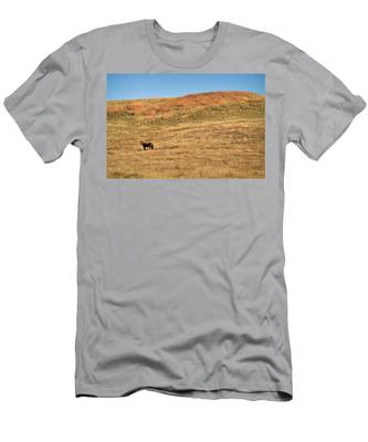 Men's T-Shirt (Athletic Fit) featuring the photograph Grazing In The Grass by Carl Young
