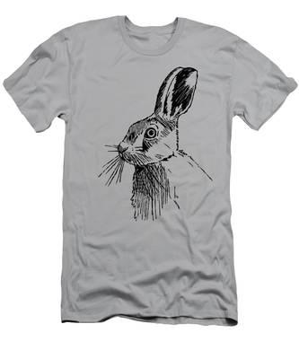 Hare On Burlap Men's T-Shirt (Athletic Fit)