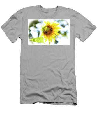 Honey Bees On Sunflower Men's T-Shirt (Athletic Fit) by Ola Allen