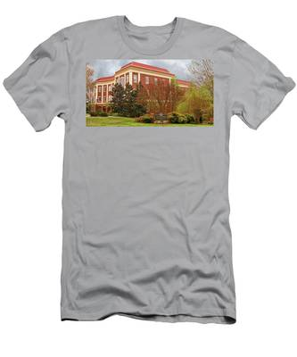 Men's T-Shirt (Athletic Fit) featuring the photograph Chichester Hall At Longwood University Farmville Virginia by Ola Allen