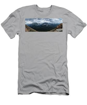 Never Summer Mountains Panorama Men's T-Shirt (Athletic Fit) by Andy Konieczny