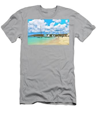 Picture Perfect Day For Sailing In Anguilla Men's T-Shirt (Athletic Fit) by Ola Allen