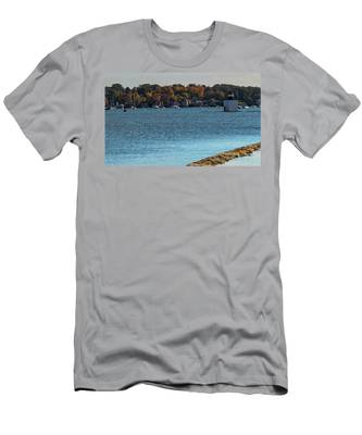 Salem Derby Wharf Lighthouse Flooded Men's T-Shirt (Athletic Fit) by Jeff Folger
