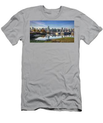 Vancouver Skyline In Autumn Men's T-Shirt (Athletic Fit) by Andy Konieczny