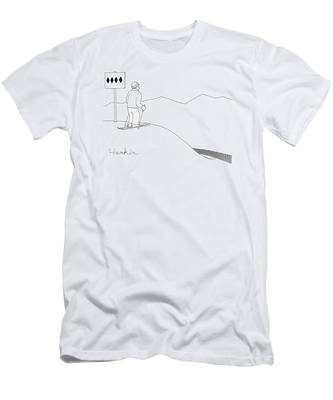 A Man Stands At The Top Of A Ski Slope Men's T-Shirt (Athletic Fit)