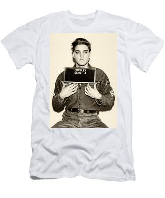 Men's T-Shirt (Athletic Fit) featuring the photograph Elvis Presley - Mugshot by Digital Reproductions