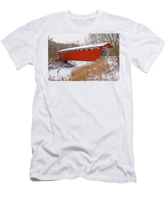 Everett Rd. Covered Bridge In Winter Men's T-Shirt (Athletic Fit)