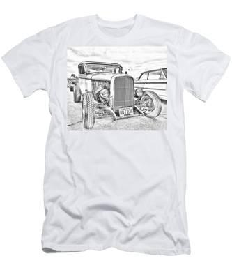 Hot Rod Faux Sketch Men's T-Shirt (Athletic Fit)