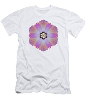 Pink And White Hibiscus Moscheutos I Flower Mandala White Men's T-Shirt (Athletic Fit)