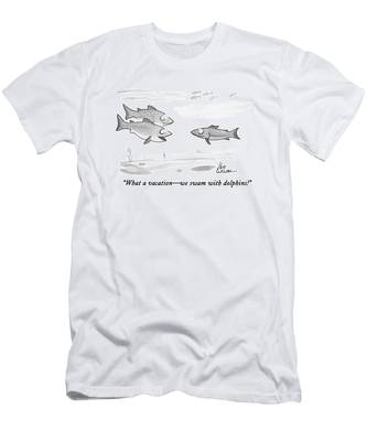 What A Vacation - We Swam With Dolphins! Men's T-Shirt (Athletic Fit)