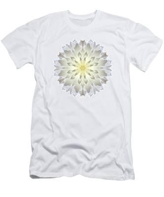 Giant White Dahlia I Flower Mandala White Men's T-Shirt (Athletic Fit)