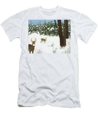 Wintering Whitetails Men's T-Shirt (Athletic Fit)