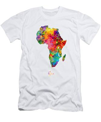 Africa Watercolor Map Men's T-Shirt (Athletic Fit)